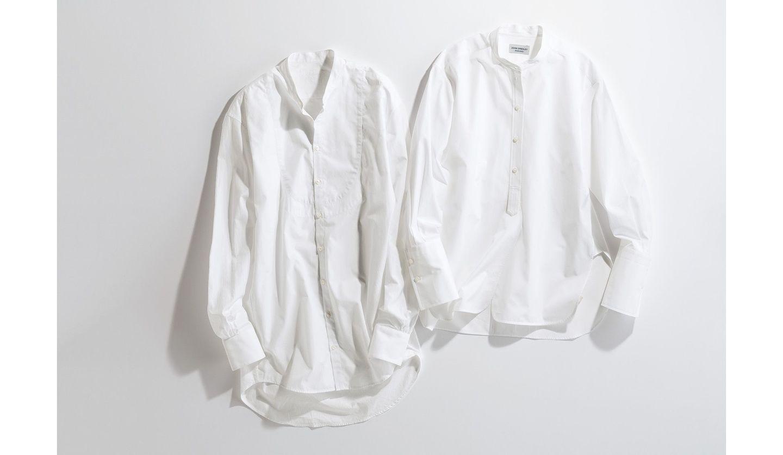 バンドカラー×ロング丈の白シャツ