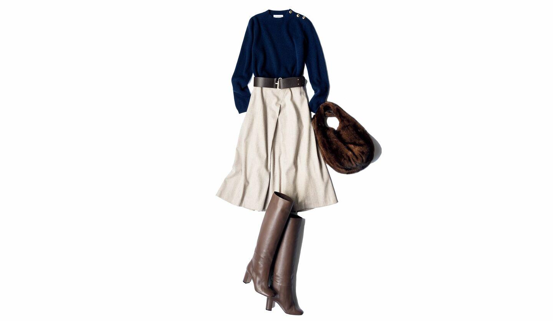 lequipe(レキップ)のボックスプリーツデザインのスカートを用いた秋のコーディネート