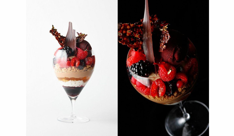 『赤いフルーツ、ミルクチョコレート、ランブルスコ、スパイスのパフェ』