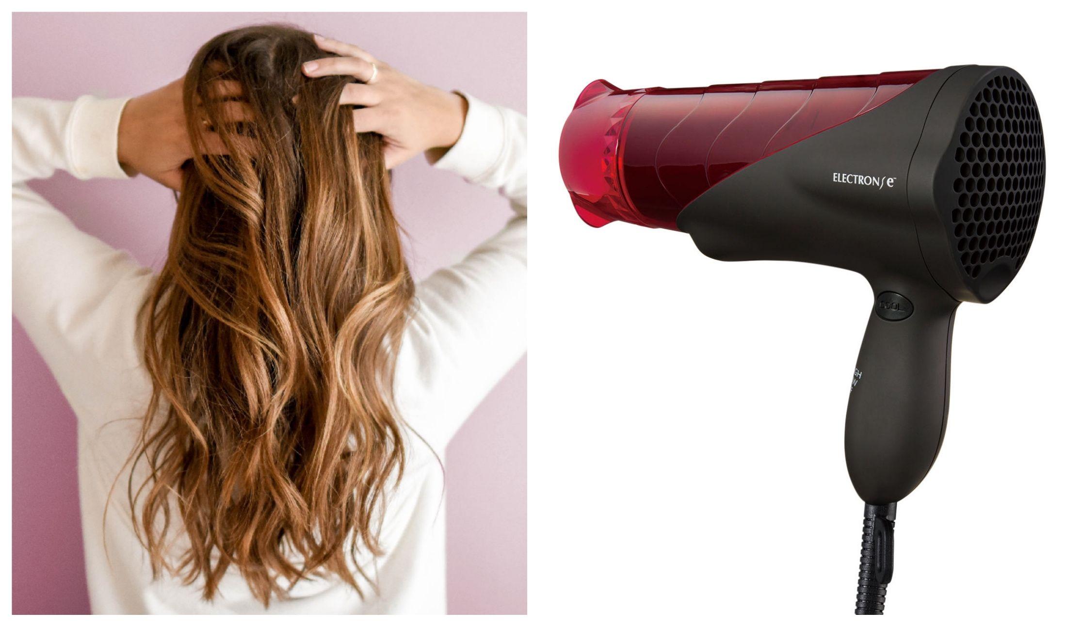 長い髪の女性とエレクトロン復元ドライヤー