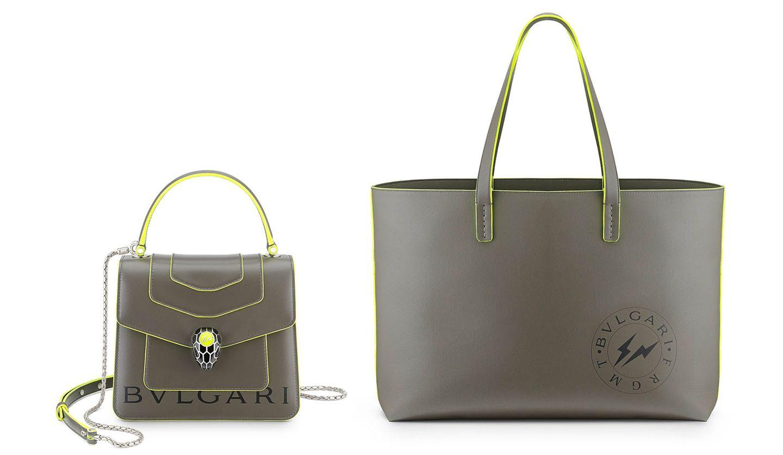 「ブルガリ×フラグメント」カプセルコレクションのバッグ「セルペンティ」とトートバッグ「BB フラグメント」