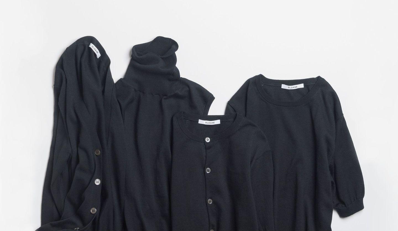 「RITA'S STANDARD」スタイリスト髙橋リタのシンプル&洗練ルールのP28に掲載された黒のアンサンブルニット4枚