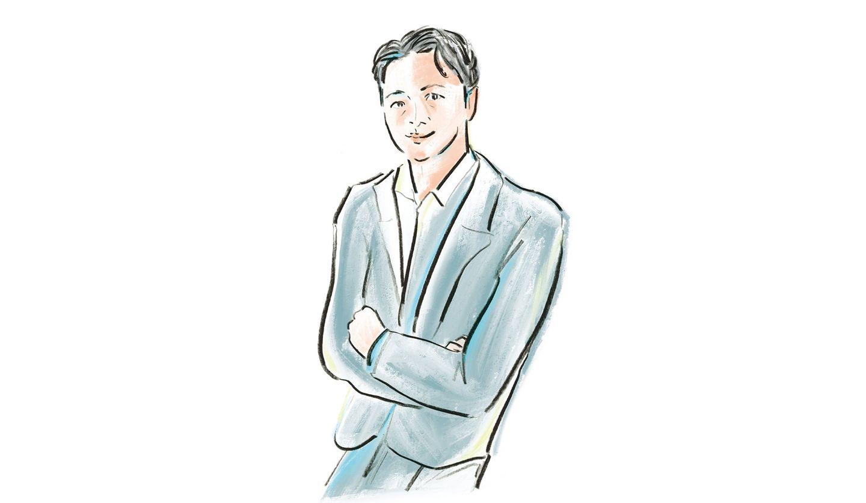佐伯ゆう子さんによる小川仁志さんのイラスト