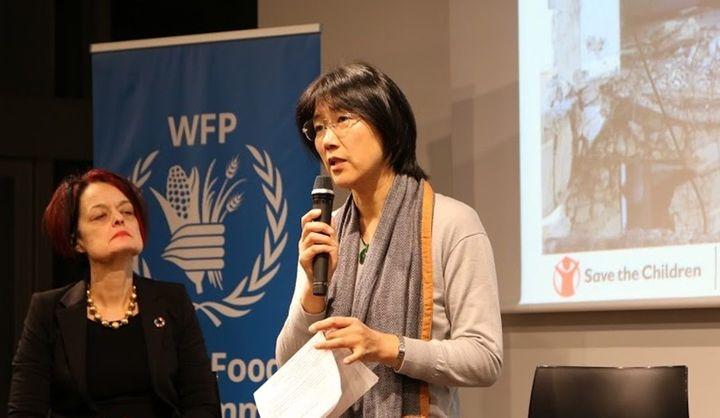 2019年12月国連世界食糧計画(WFP)のシリアとイエメンに関するイベントに登壇した時の塩畑さん