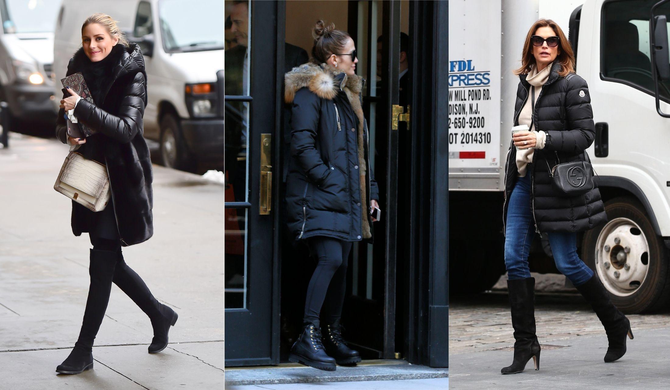 黒いダウンコートを着たオリビア・パレルモ、ジェニファー・ロペス、シンディ・クロフォード