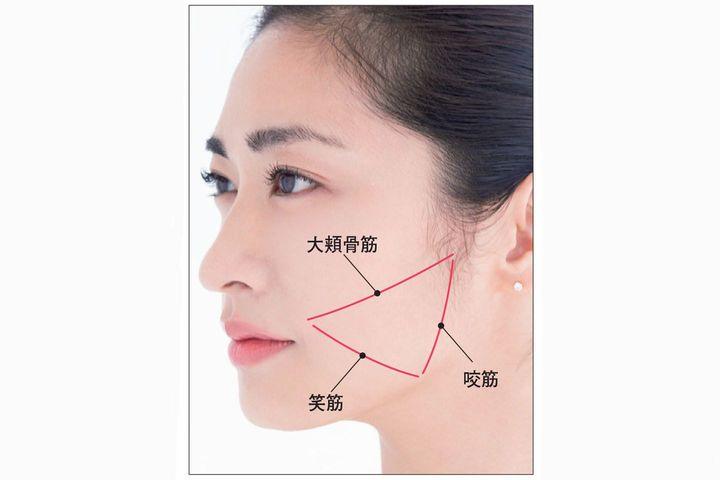 大頬骨筋、笑筋、咬筋の3つの顔筋をゆるめるための図をモデルの顔に