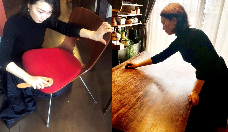 家具のメンテナンスを行う土橋陽子さん