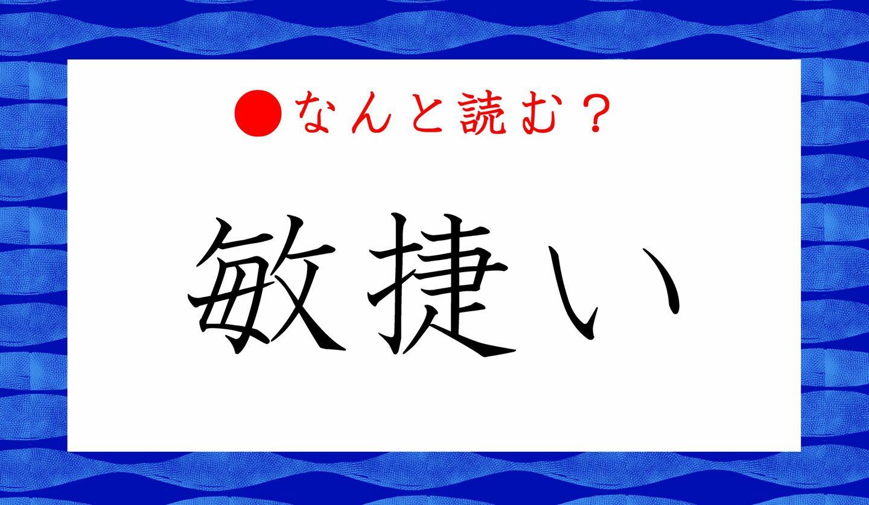 日本語クイズ 出題画像 難読漢字 「敏捷い」なんと読む?
