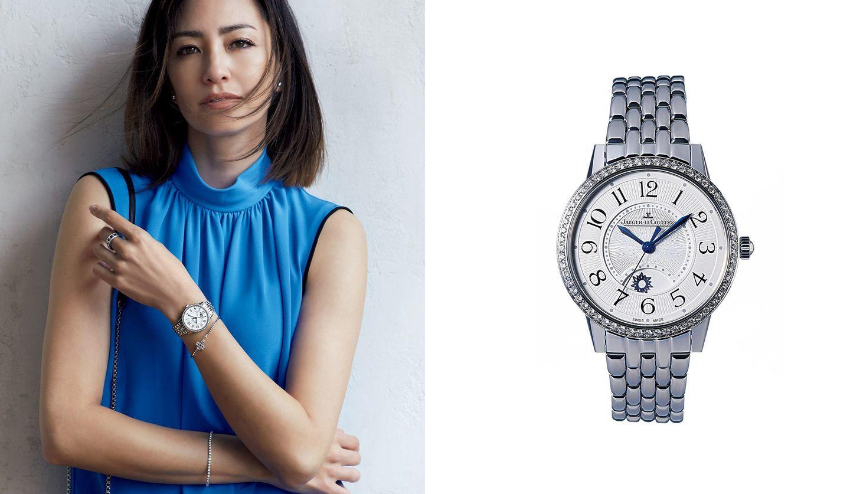 ジャガー・ルクルトの時計と、その時計を身に着けた女性の写真。