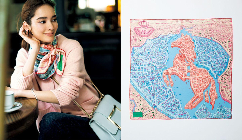 エルメスの67㎝角 モチーフスカーフと着用イメージ