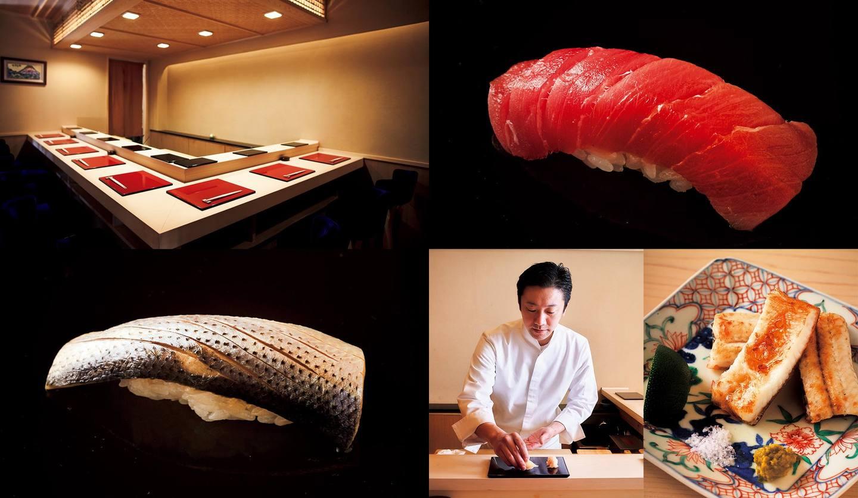 常磐鮨の店内と握り寿司