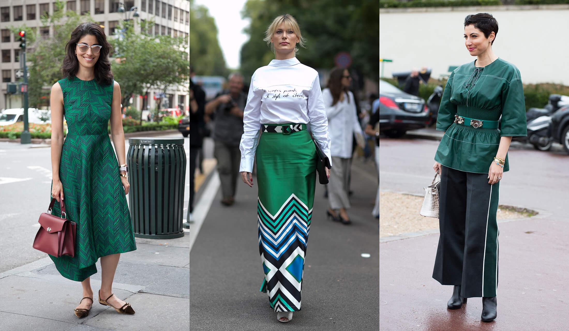 グリーンを取り入れたファッションを着こなす女性たちの写真画像