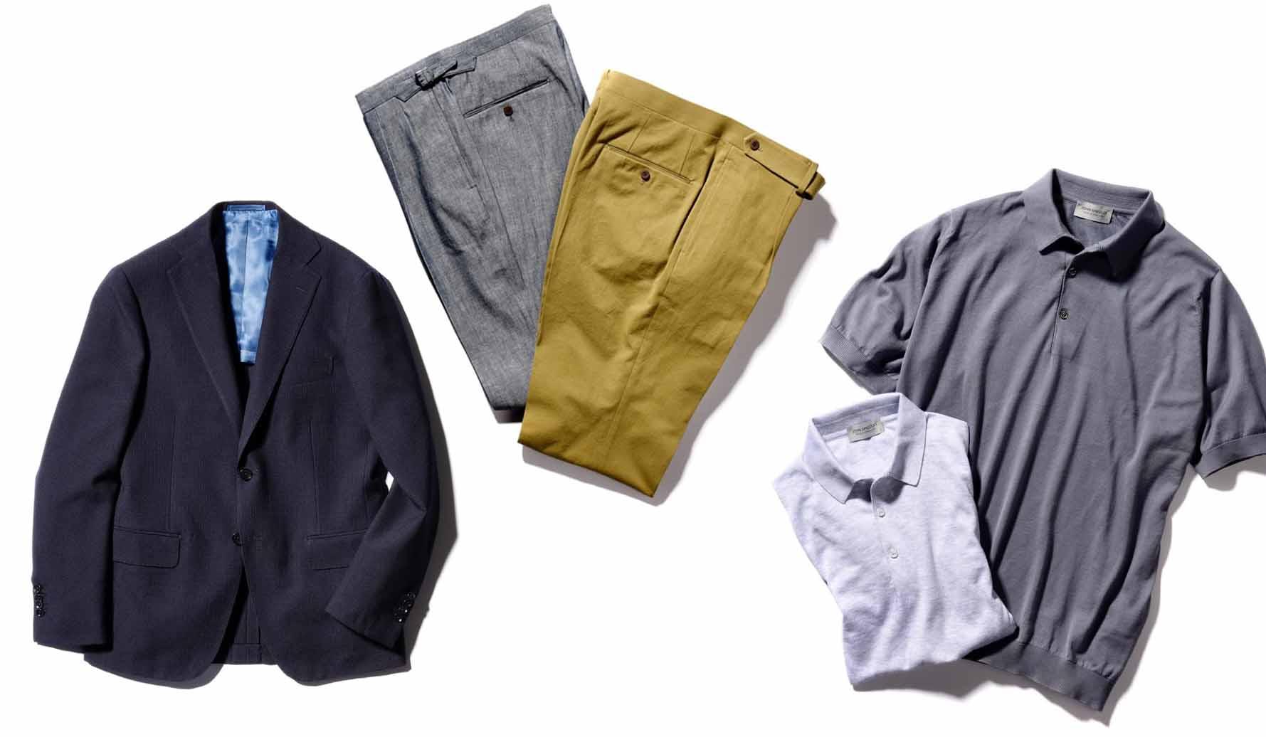 銀座三越90周年限定のジャケット、パンツ、ポロシャツ