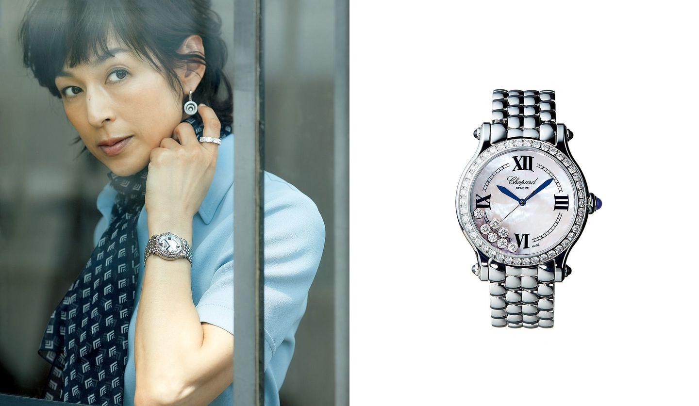 ショパールの時計と、その時計を身に着けた鈴木保奈美さんの写真。