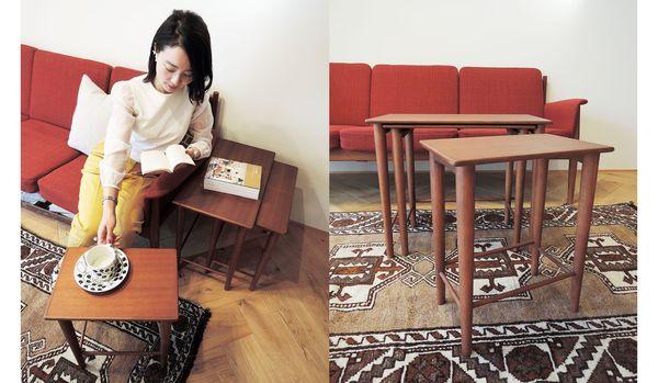 3つセットの小型テーブルだから、コンパクトにしまえて大きく使える!「アクタスのH.W.F ネストテーブル」の魅力とは?【身長156cmのインテリア】