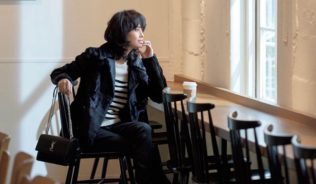 ファーのコートに身を包んだモデル・高橋里奈さん