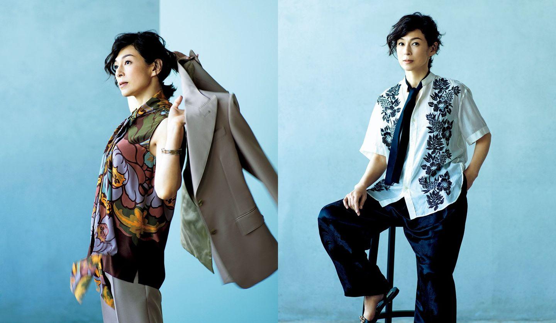 ジェンダーレスな着こなしの鈴木保奈美さんの写真
