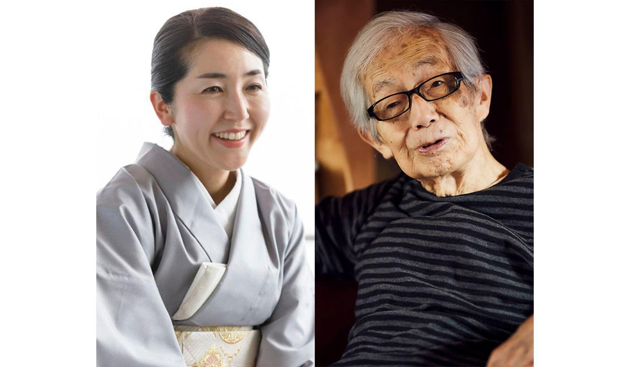 左は加賀屋の若女将を務める小田絵里香さん、右は染色家・柚木沙弥郎さん