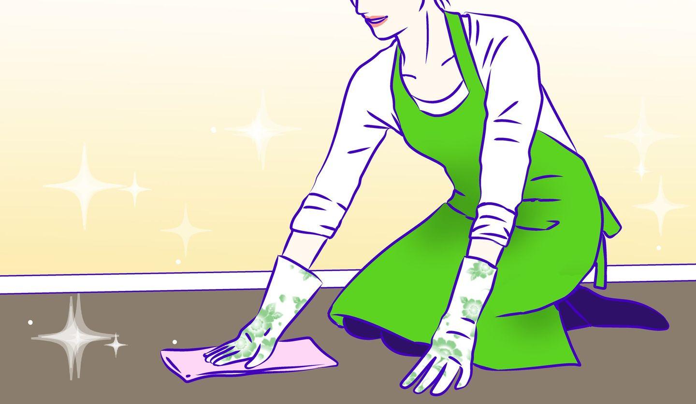 大掃除中の女性 イラスト