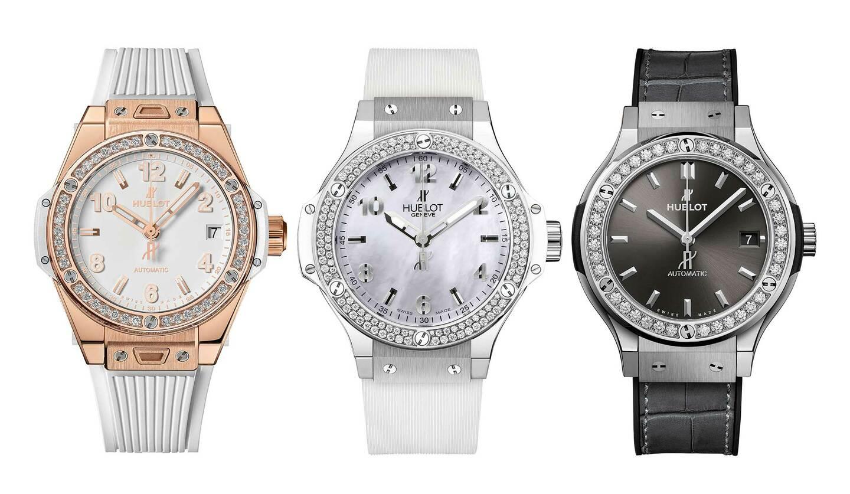 ウブロのウォッチ「ビッグ・バン ワンクリック」(左)、「ビッグ・バン オールホワイト ダイヤモンド マザーオブパール」(中)、「クラシック・フュージョン チタニウム ダイヤモンド」(右)