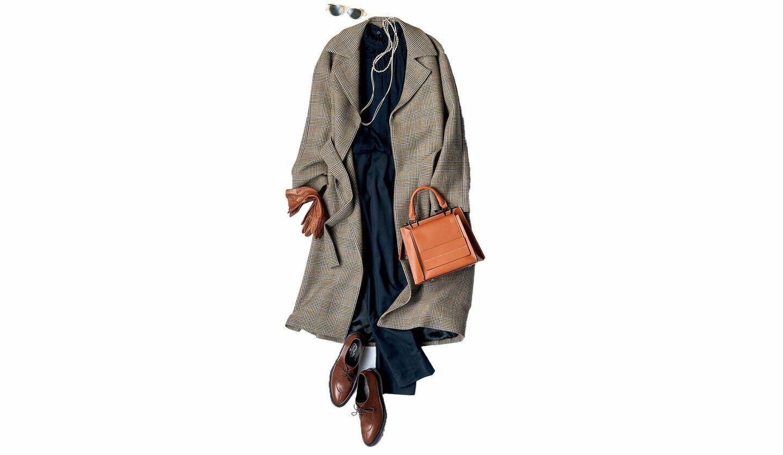 サン・フレールのチェック柄コートと小物のコーデ