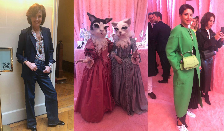 Roger Vivier(ロジェ ヴィヴィエ)の展示会でスナップしたディーナ妃とイネス・ド・ラ・フレサンジュ(Ines de la Fressange)