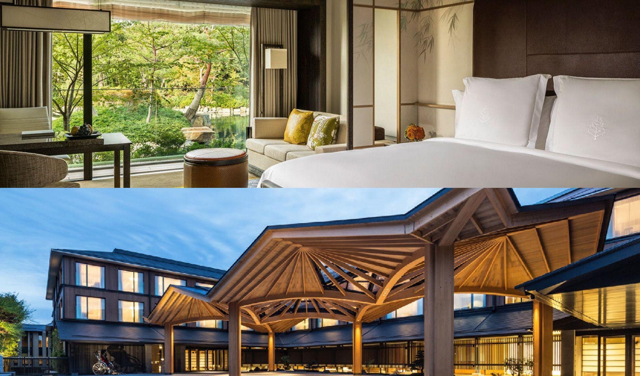 フォーシーズンズホテルのお部屋の内観と入り口の外観