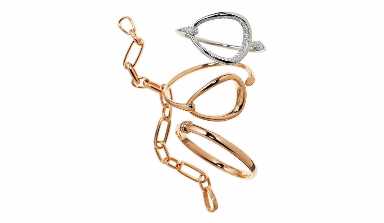 左上から反時計回りに/シンプルで美しい艶を添えるモチーフのチェーンブレスレット『イコニカ』[RG]・同ブレスレット[RG]・馬具を思わせる優美な曲線を描くモチーフ『ファンティーナ』のブレスレット[RG]・同[WG×ダイヤモンド](ポメラートブティック 銀座店)