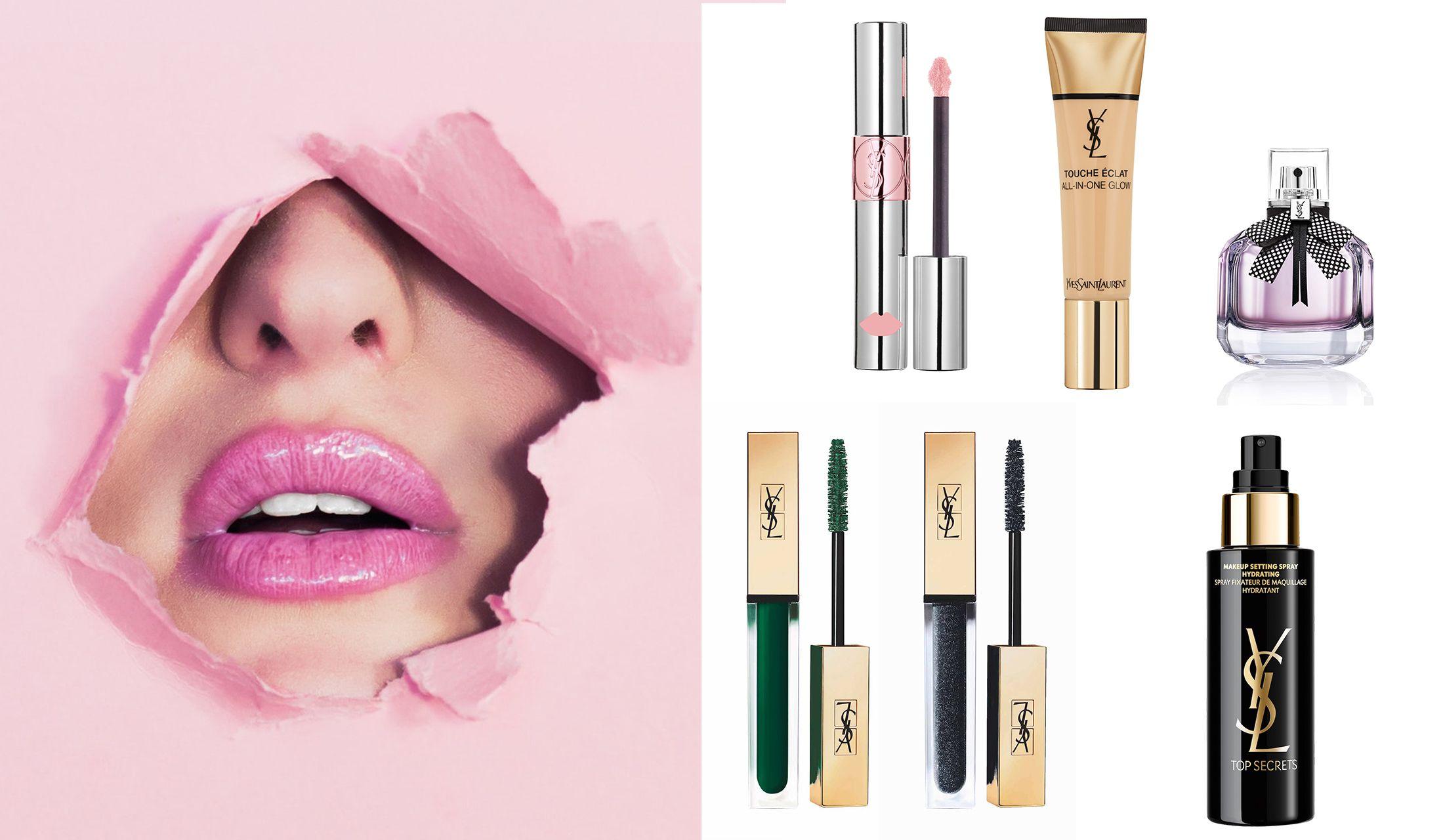 女性の唇とリップカラーとマスカラとファンデーションと香水と化粧水