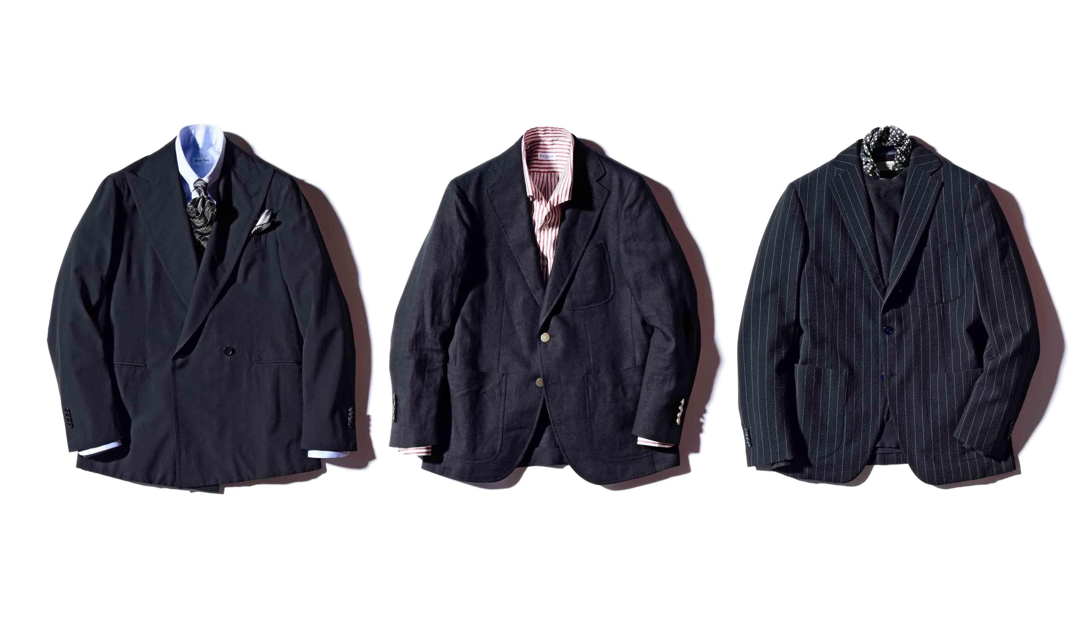 カルーゾのジャケット、ルカグラッシアのダブルジャケット、ベルヴェストのシアサッカージャケット
