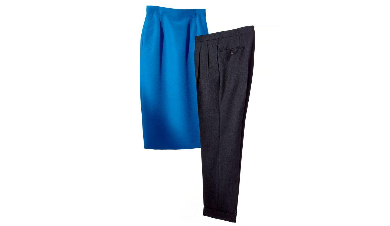 「ミカコ ナカムラ」のオーダーメイドスカート、「PANTALONAIO Osaku Hayato」のオーダーメイドパンツ