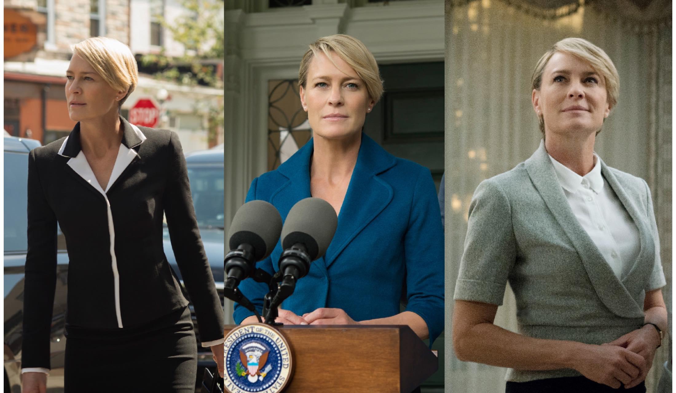 海外ドラマ『House of Cards』で女優のRobin Wright(ロビン・ライト)が披露した政治家の妻のジャケットスタイル