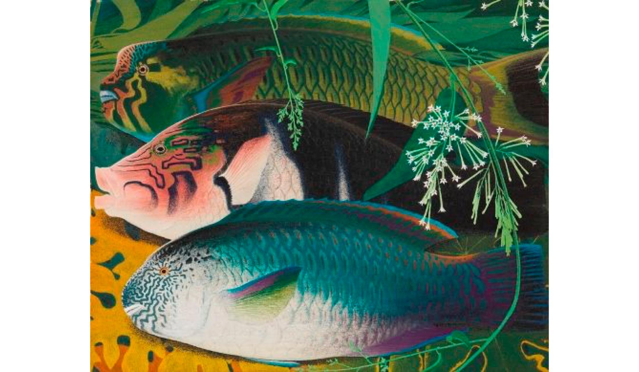 田中一村 『熱帯魚三種』 昭和48(1973)年 岡田美術館蔵 ©2018 Hiroshi Niiyama