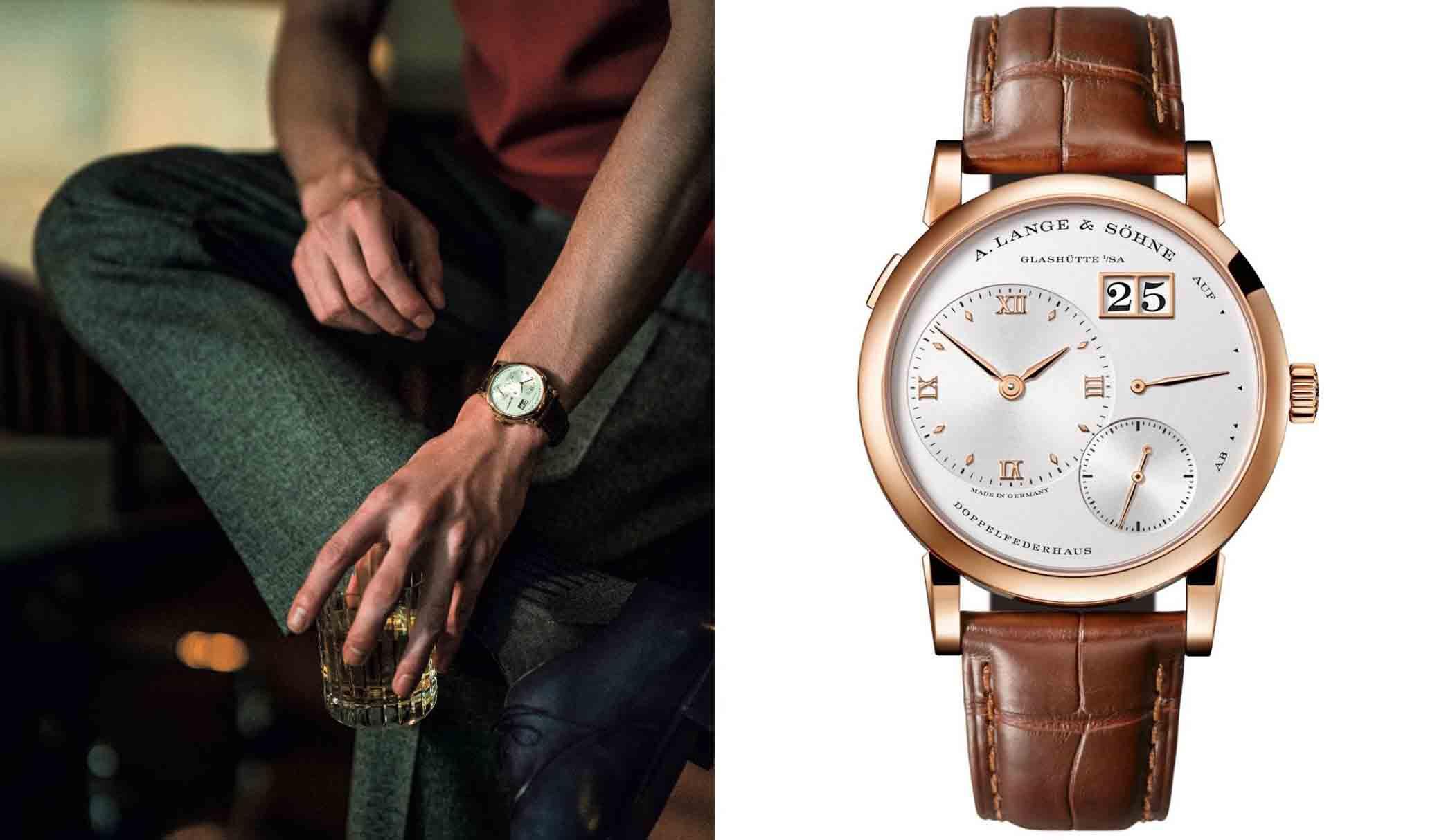 右はA.ランゲ&ゾーネの腕時計、『ランゲ1』。左は、それを着用する男性。