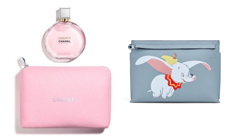 シャネルの香水とポーチ、ロエベのダンボのバッグ
