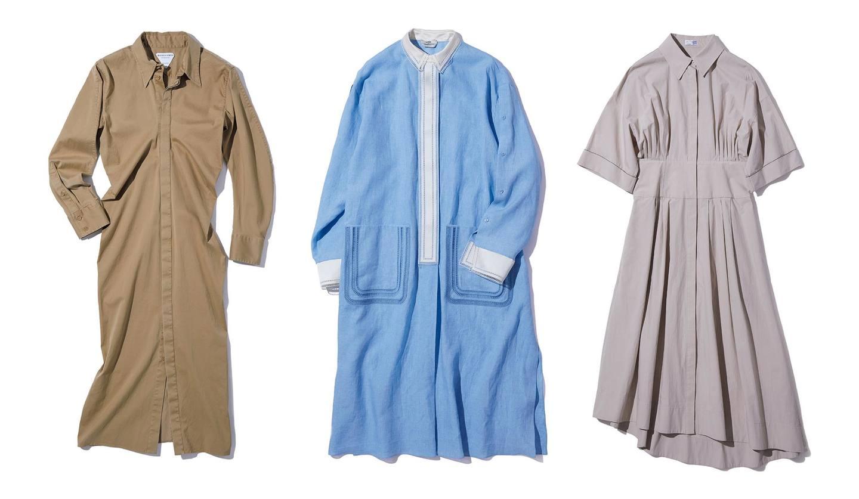 左から/ドレス(ボッテガ・ヴェネタ)、ドレス(フェンディ)、ドレス(ブルネロ クチネリ)