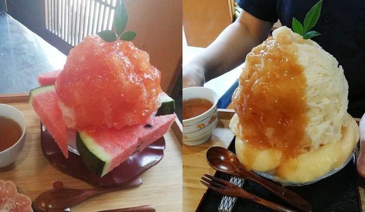 茶寿のかき氷2つの画像