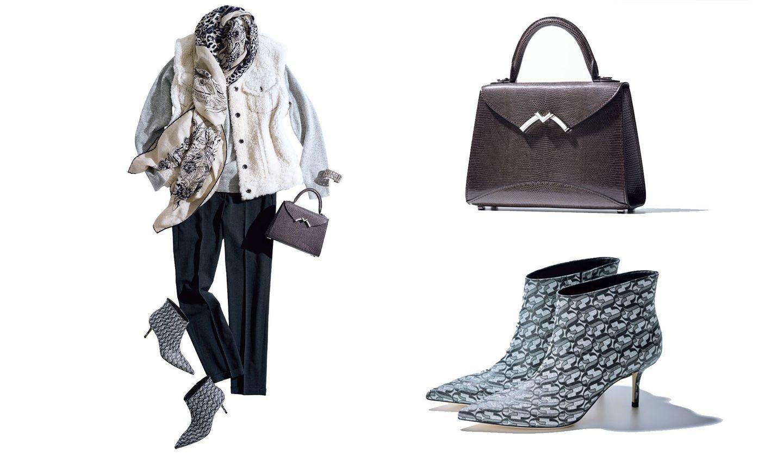 モワナのバッグ、ジミーチュウのブーツと、そのコーディネート