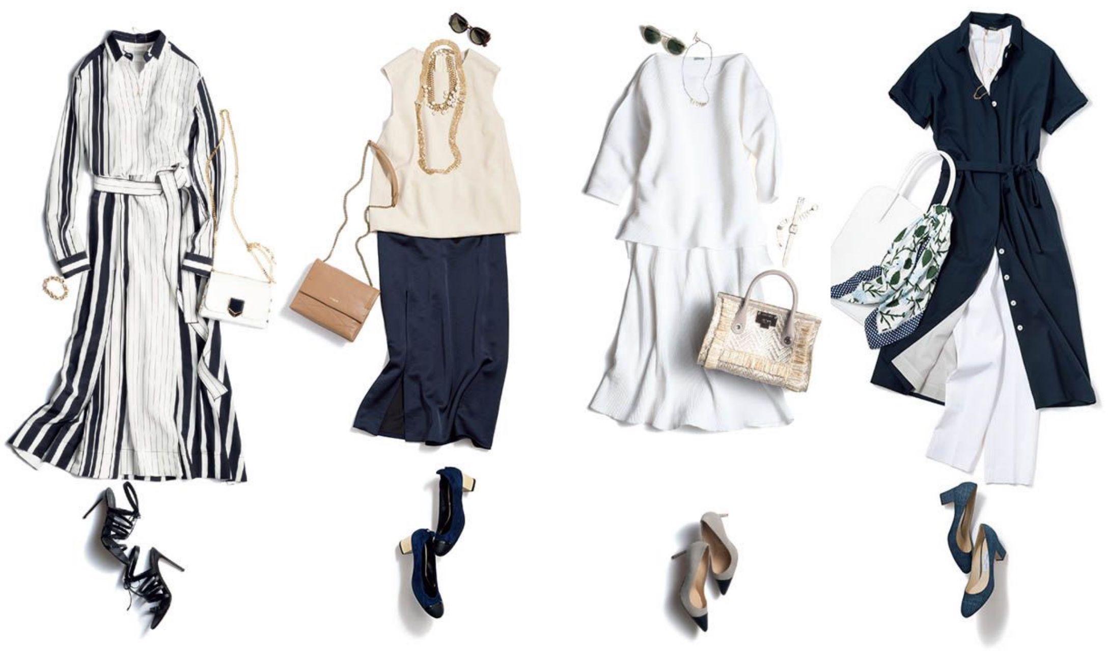 パンツやスカート、ワンピースなど、夏のさまざまな着こなし