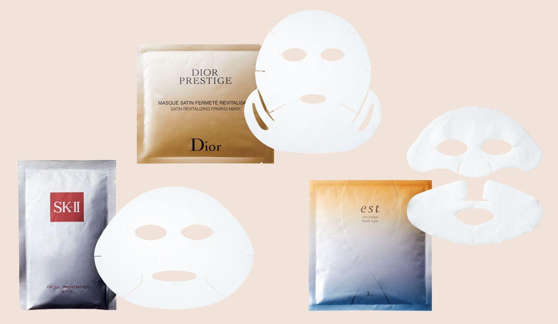 左から/SK-Ⅱ フェイシャル トリートメント マスク 6枚入り ¥10,000、パルファン・クリスチャン・ディオール プレステージ マスク フェルムテ 6枚入り ¥20,000、花王 エスト ザ ローション マスク 5セット入り ¥6,000
