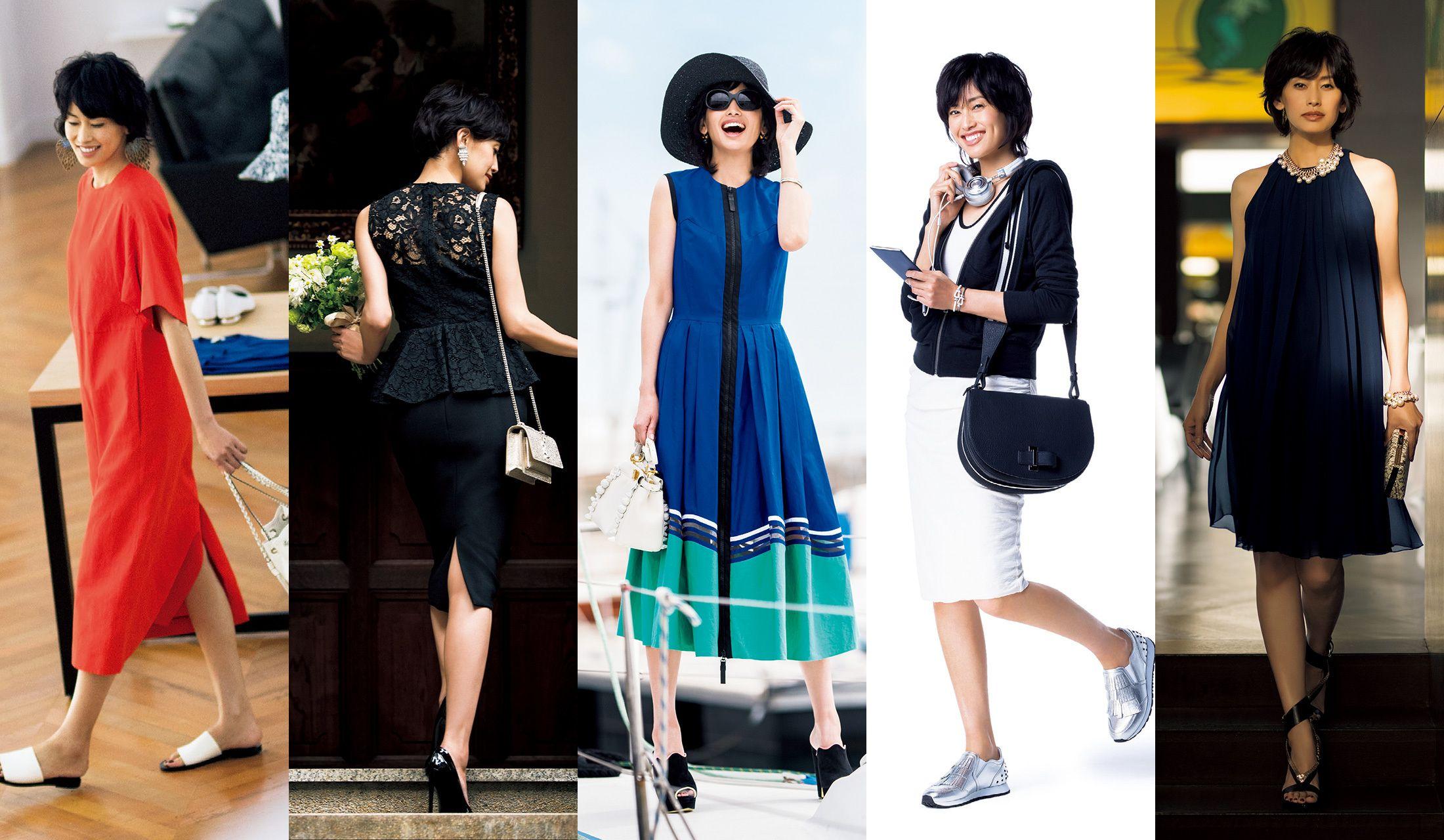 ワンピースを着たモデルの高橋里奈さんの写真5枚