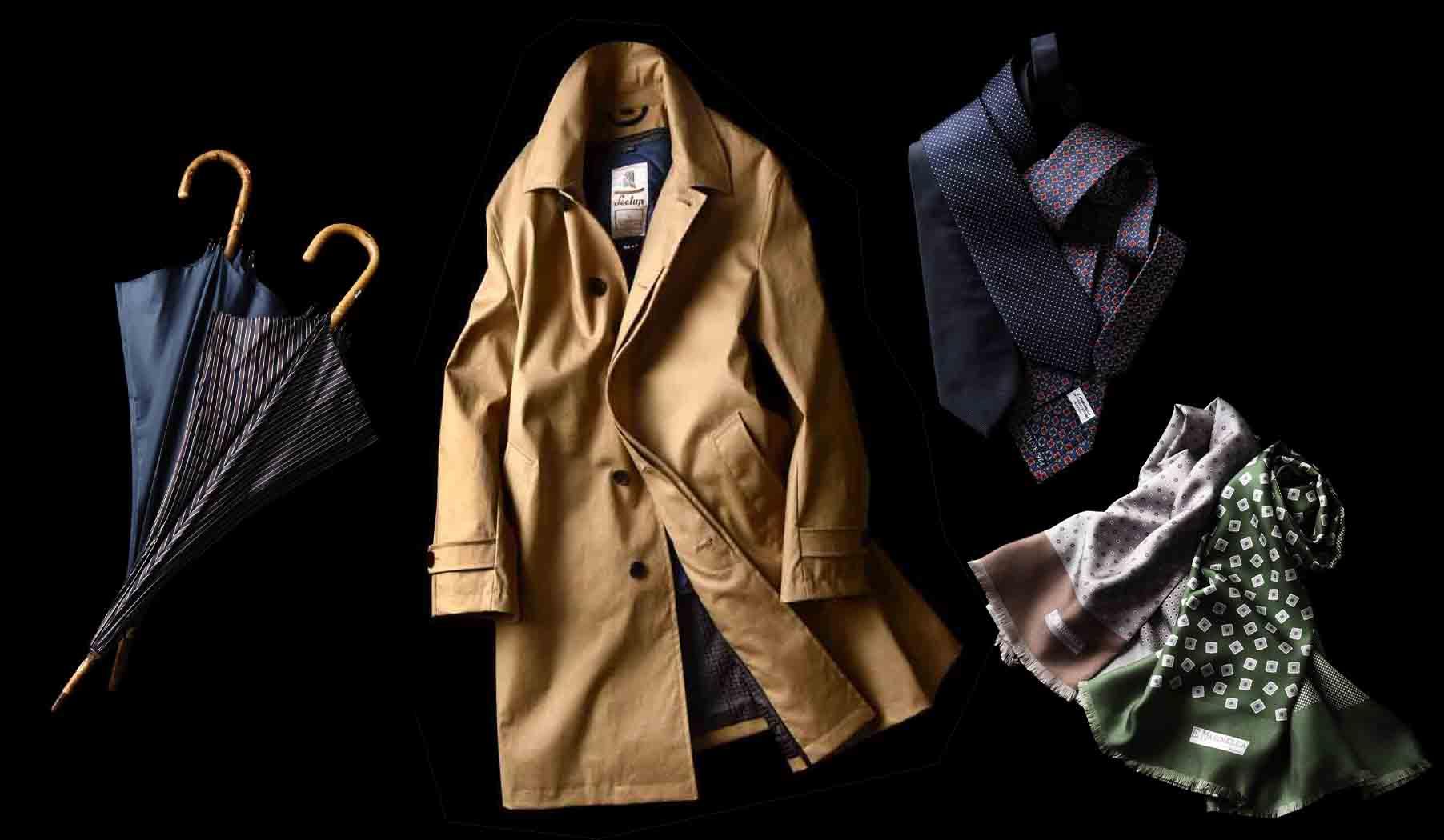 マリネッラの傘、コート、ネクタイ、ストール