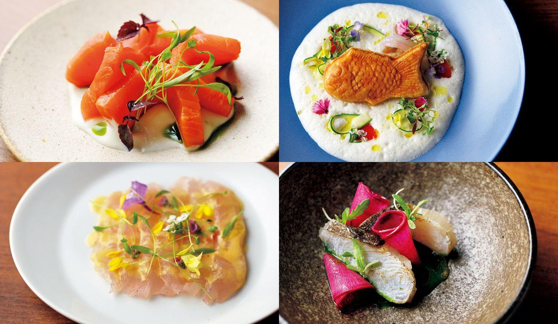シーフードをメイン食材としたビュッフェ形式のフレンチレストラン「シンシアブルー」の料理4品