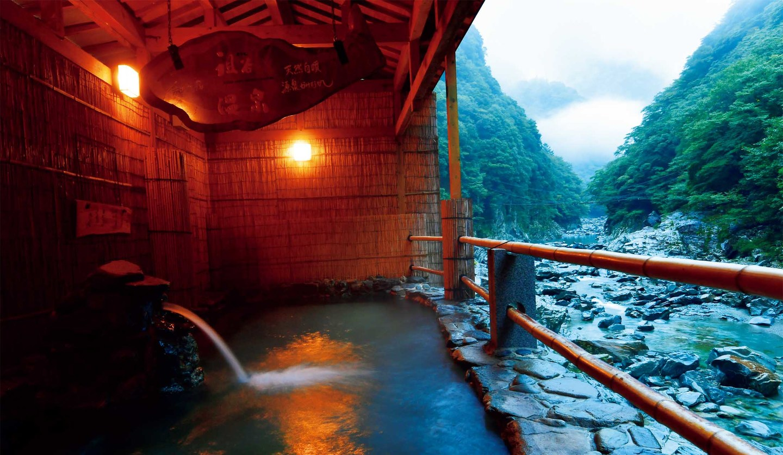 徳島県の「和の宿 ホテル祖谷温泉」の露天風呂