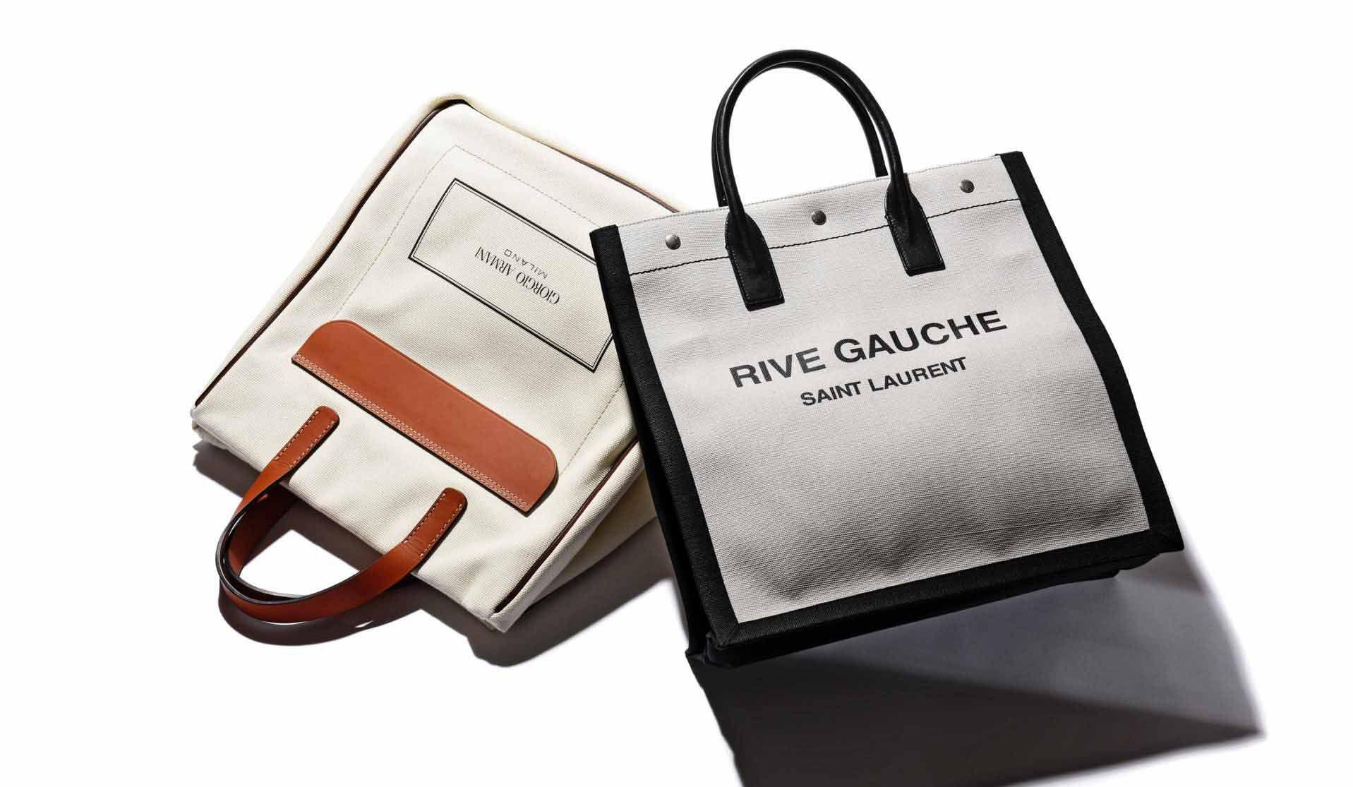 ジョルジオ アルマーニとサンローランのキャンバスバッグ