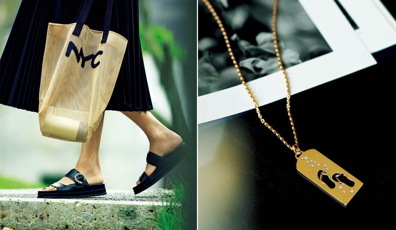 靴¥111,100(JIMMY CHOO)、スカート¥47,300(イレーヴ)、バッグ¥9,900(ラドロー オンラインストア)、ネックレス『リビエラ ペンダント』/チャーム[PG×ダイヤモンド]¥638,000・チェーン[PG]¥363,000(フレッド)