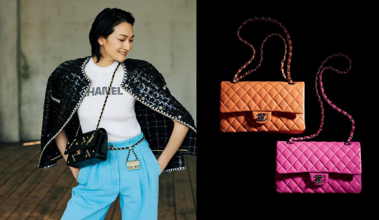 シャネルのウェアと「11.12」を纏ったモデルの冨永愛さんとシャネルのバッグ「11.12」