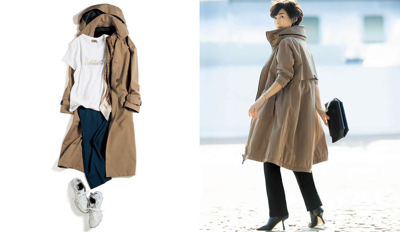 Precious4月号で購入したいもの第1位に選ばれたヘルノのコートを着たモデル着用コーディネートとこれから買えるコートのコーディネート物撮り