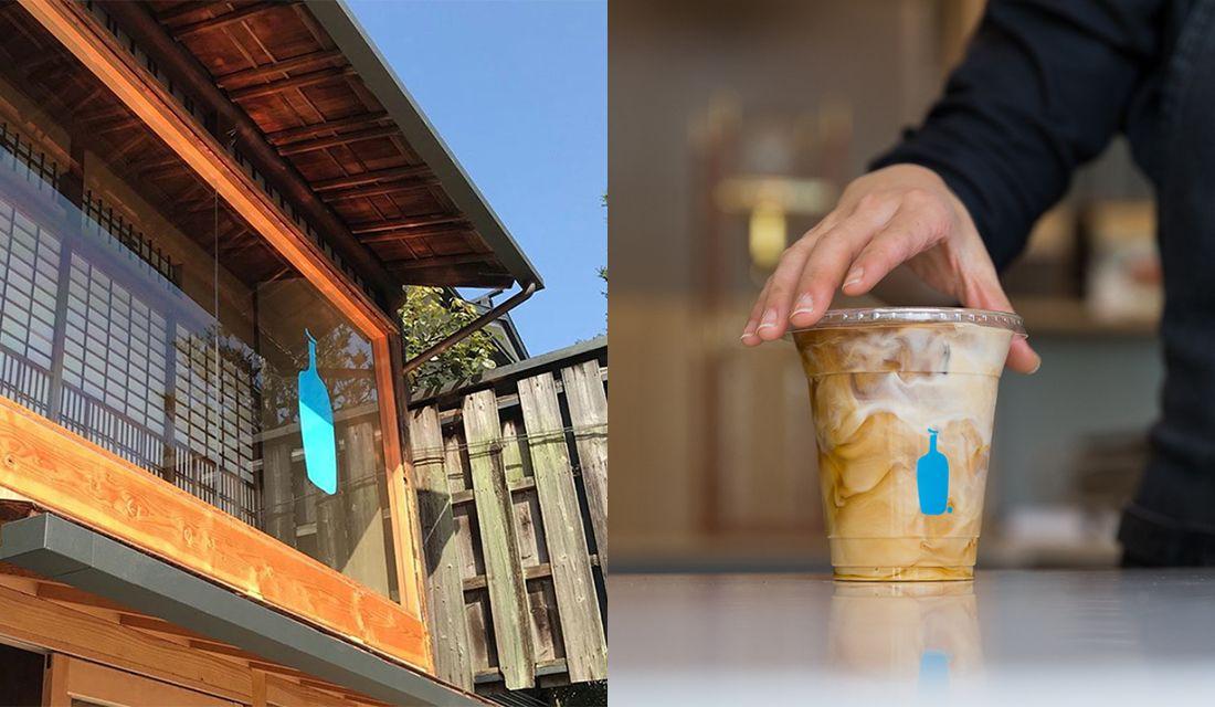 ブルーボトルコーヒー 京都カフェの外観とアイスコーヒー