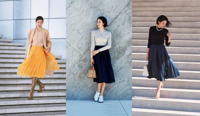 40代女性のためのプリーツスカートコーデ集
